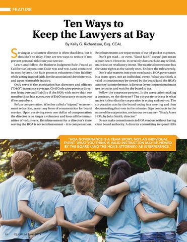 Page 18 of Ten Ways to Keep the Lawyers at Bay By Kelly G. Richardson, Esq. CCAL