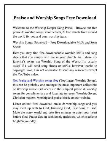 Praise And Worship Songs Free Download by CM Portal - issuu