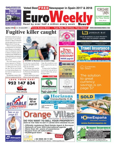Euro Weekly News - Costa Blanca North 6 - 12 June 2019 Issue 1770 by