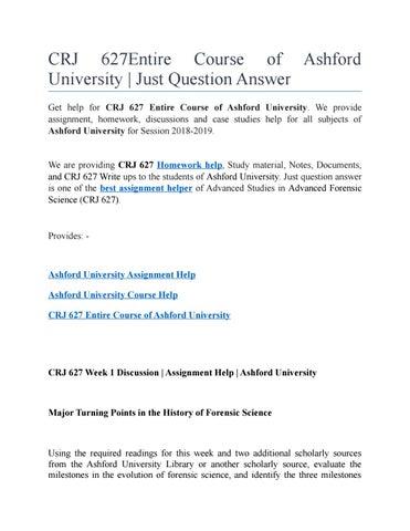 CRJ 627 Entire Course of Ashford University by