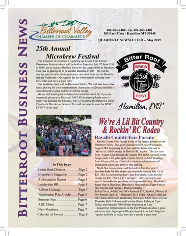 Ravalli County Fair 2020.June S Chamber Newsletter By Bitterroot Valley Chamber Of