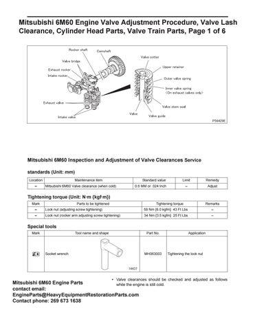 mitsubishi 6m60 engine valve adjustment procedure, valve lash clearance,  cylinder head parts, valves