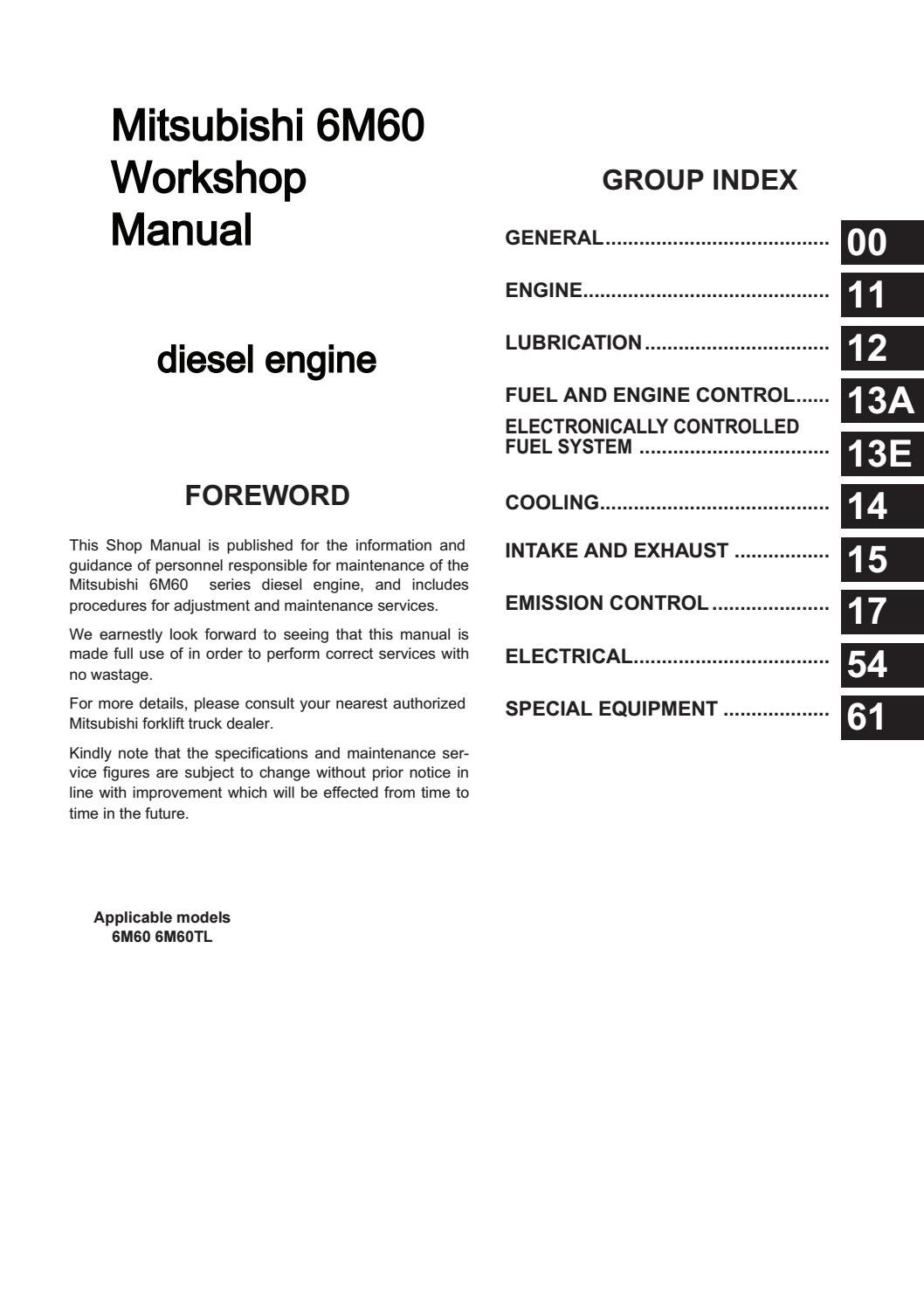 Mitsubishi 6M60 Engine Workshop Manual free download by
