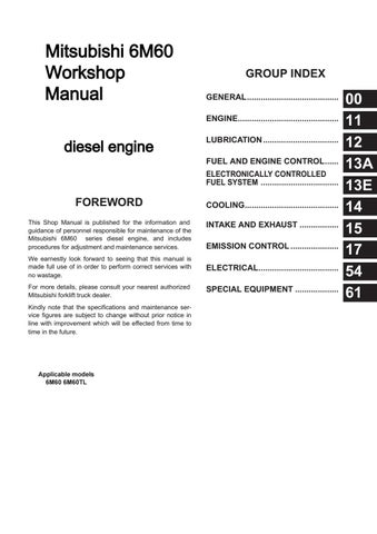 Mitsubishi 6M60 Engine Workshop Manual free download by engineparts2
