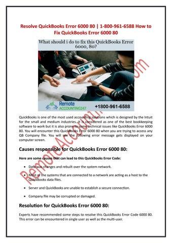 Resolve QuickBooks Error 6000 80 | 1-800-961-6588 How to Fix