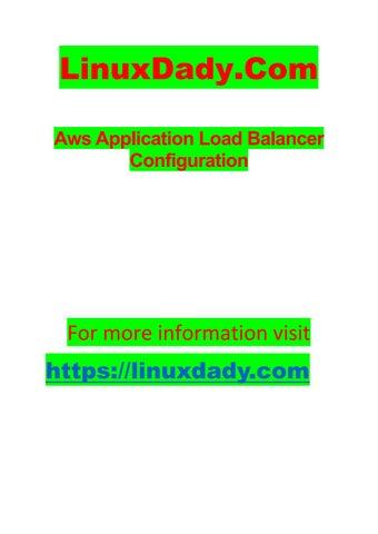 Aws application load balancer configuration
