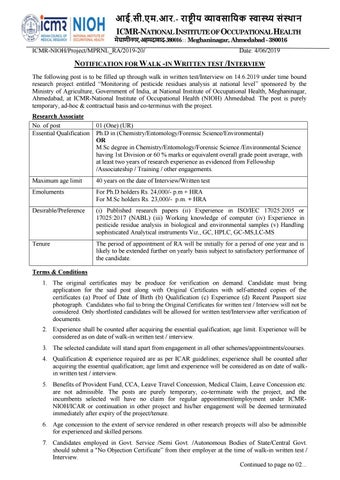 Phd Chemistry Research Associate Vacancies @ ICMR – NIOH by