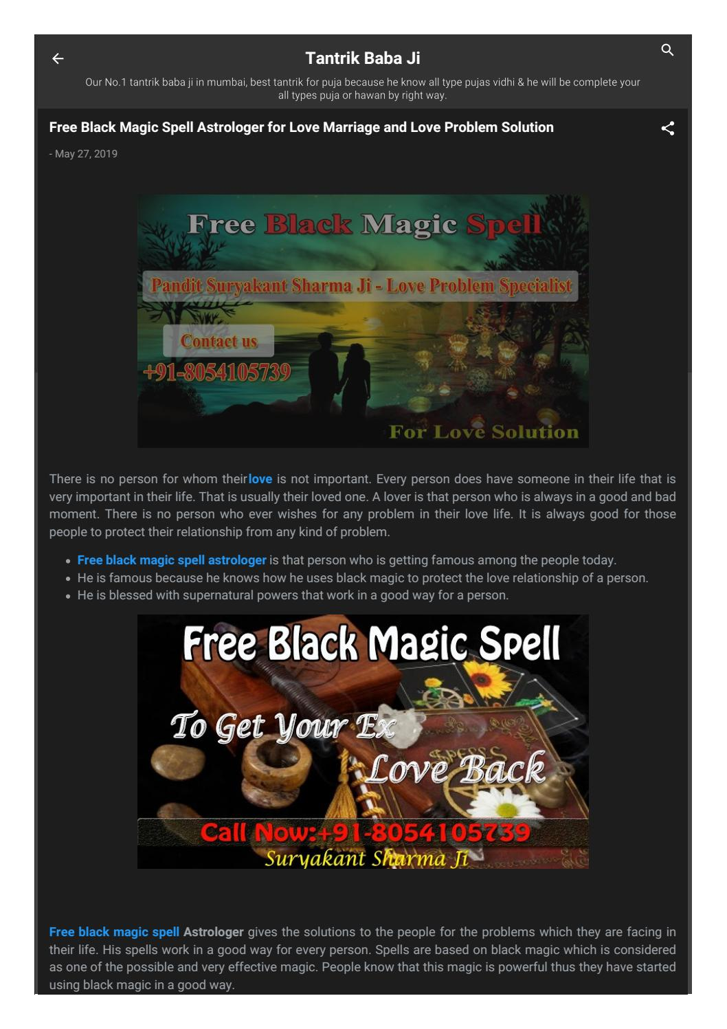 Free Black Magic Spell Show you the best path to resolve your love Problems