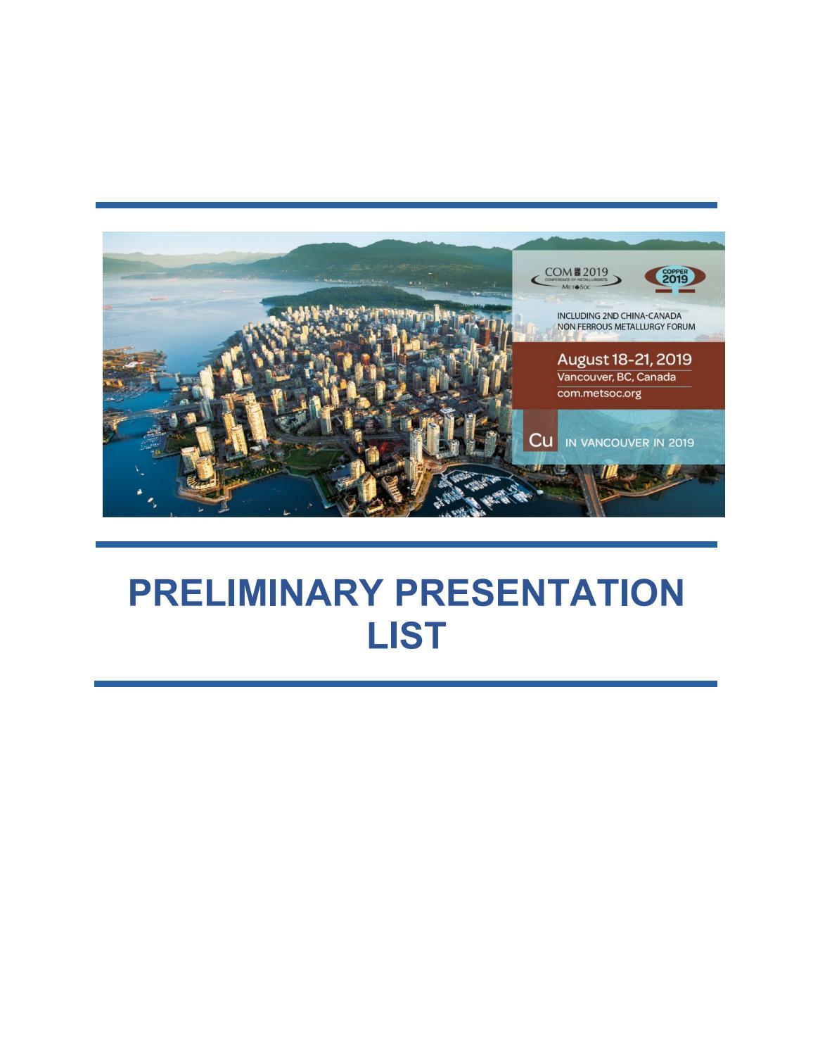 Preliminary Presentation List by CIM-ICM Publications - issuu