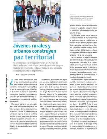 Page 18 of Jóvenes rurales y urbanos construyen paz territorial