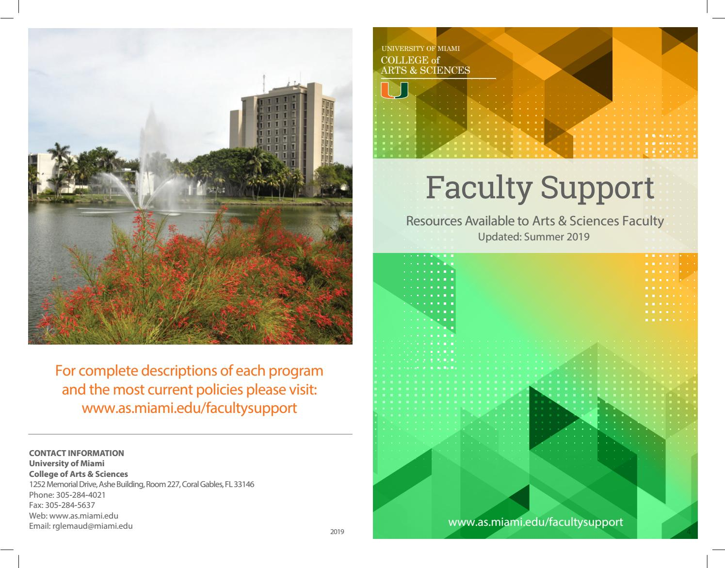 Faculty Support College Of Arts And Sciences University Of Miami By University Of Miami College Of Arts And Sciences Issuu