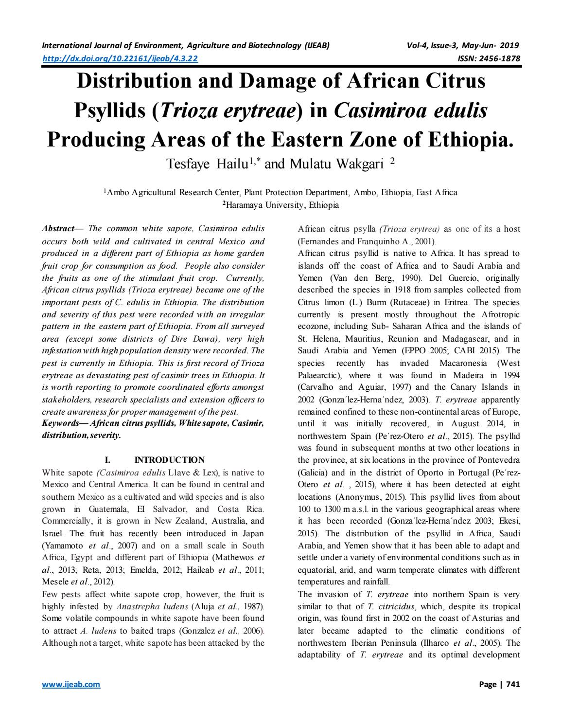 Distribution and Damage of African Citrus Psyllids (Trioza