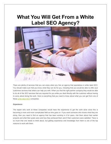 What You Will Get From a White Label SEO Agency? by EZ