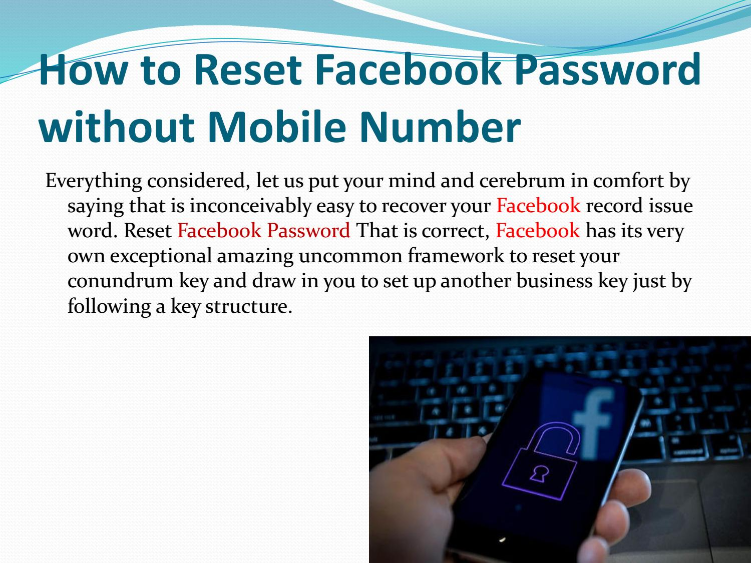 How to Reset Facebook Password without Mobile Number by