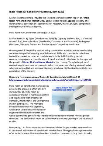 India Room Air Conditioner Market : Scenario, Size, Outlook, Trend