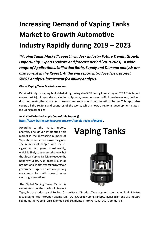 Increasing Demand of Vaping Tanks Market to Growth