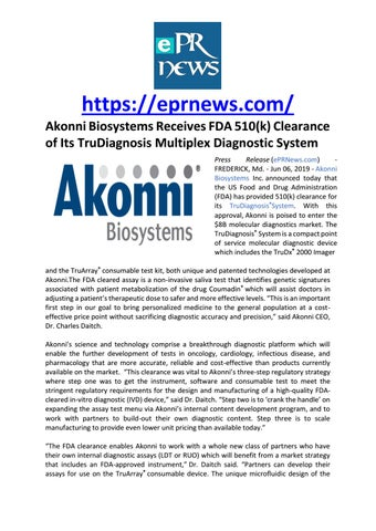 Akonni Biosystems Receives FDA 510(k) Clearance of Its