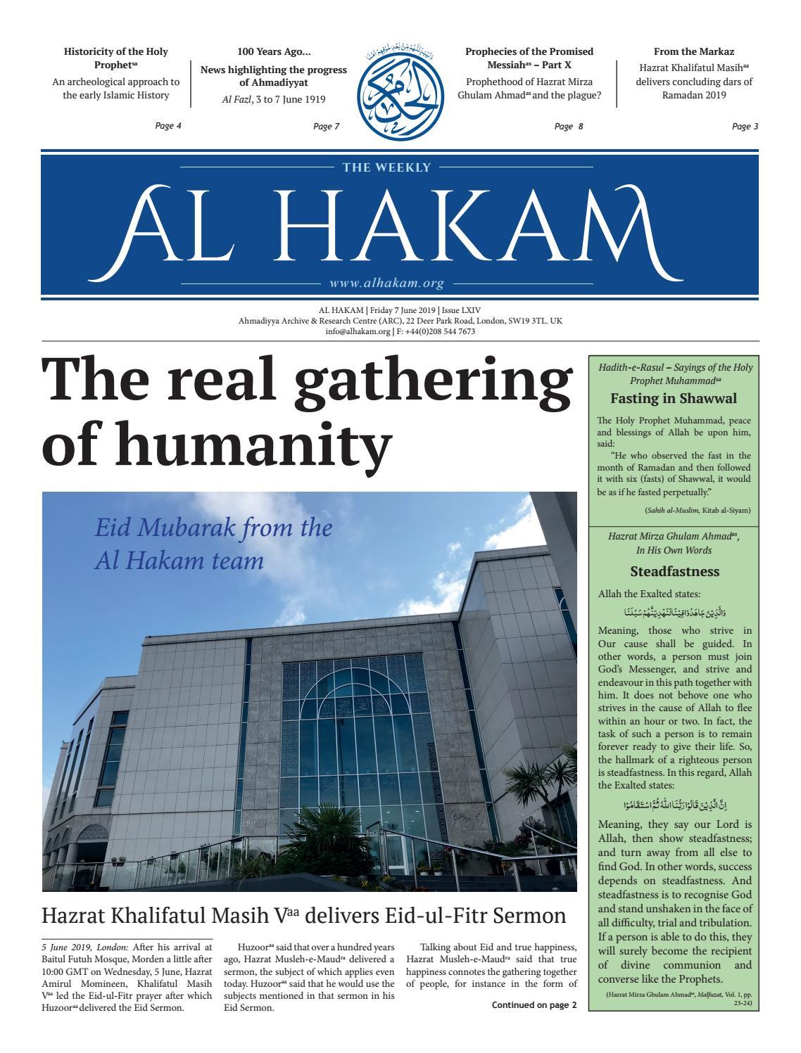 Al Hakam - 7 June 2019 by Alhakam - issuu