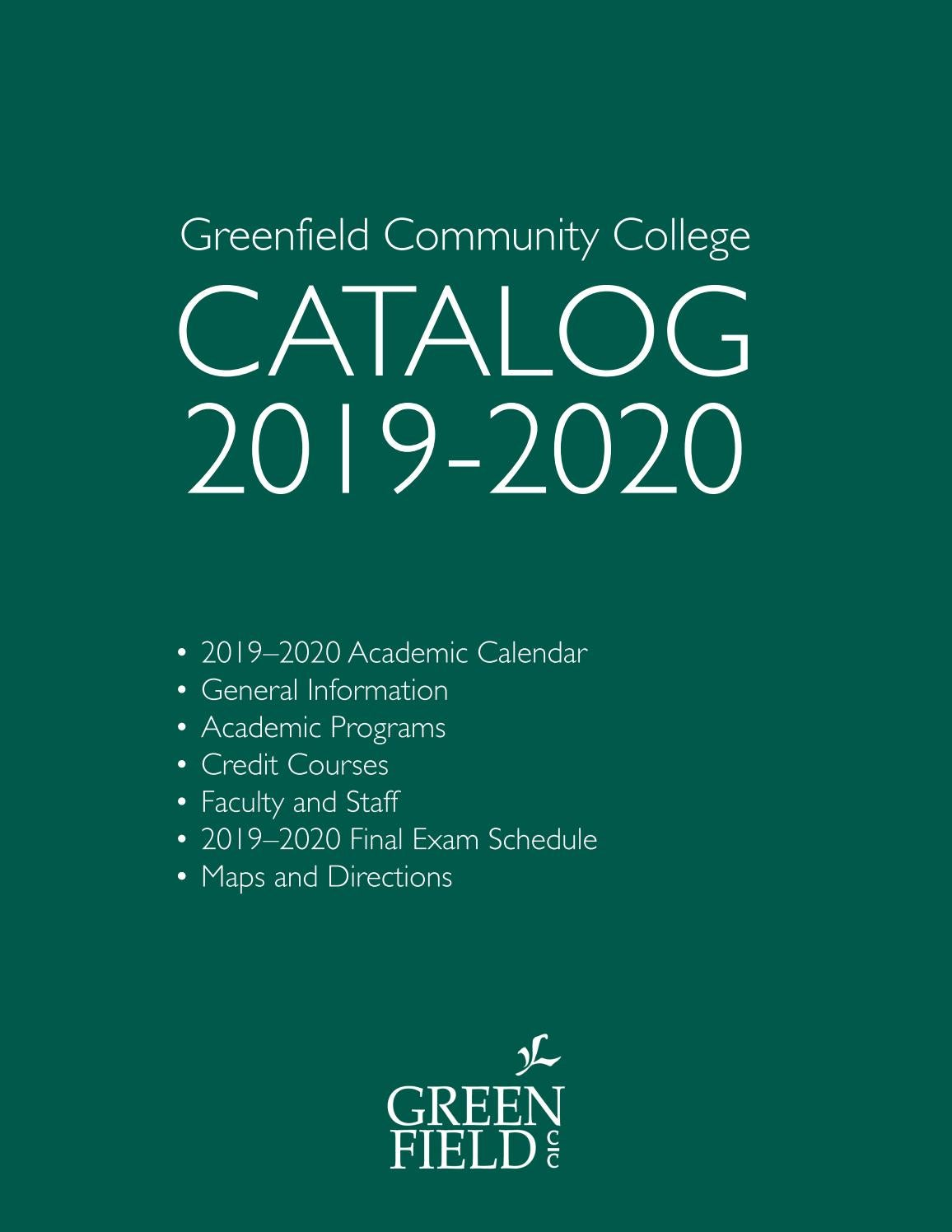Gcc Calendar 2020 2019 2020 GCC Catalog by Greenfield Community College   issuu