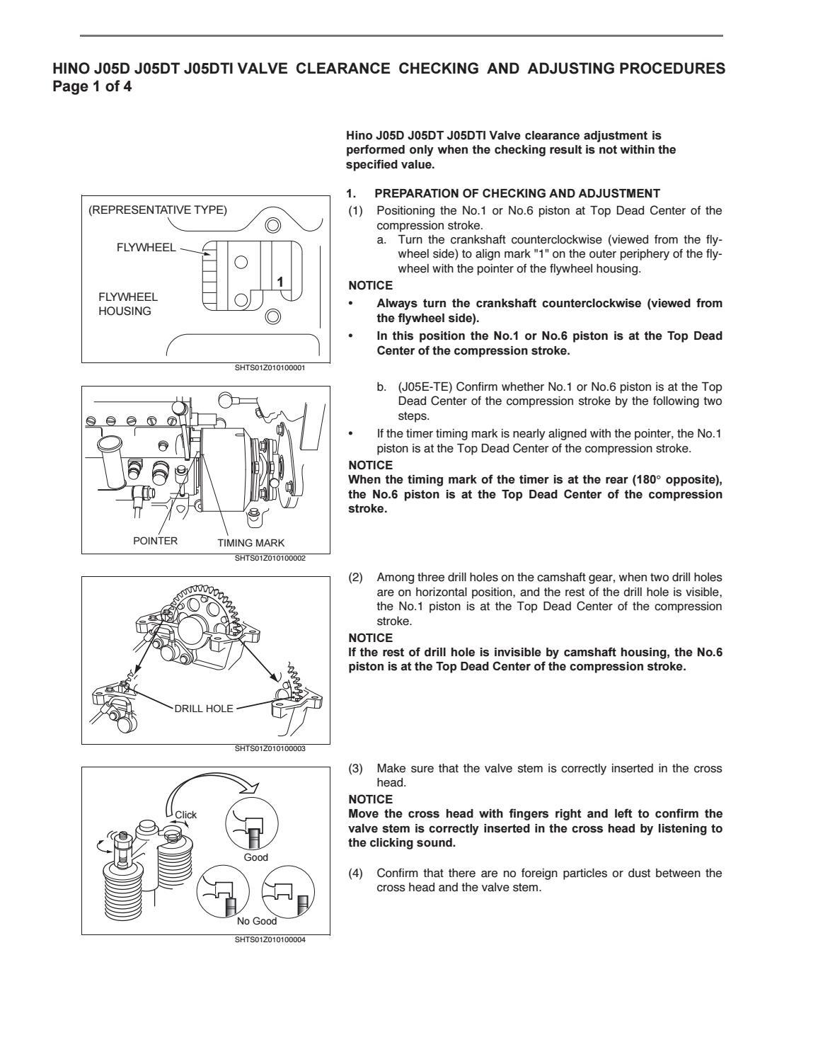 Hino J05D J05DT J05DTI Engine Valve Adjustment Procedure