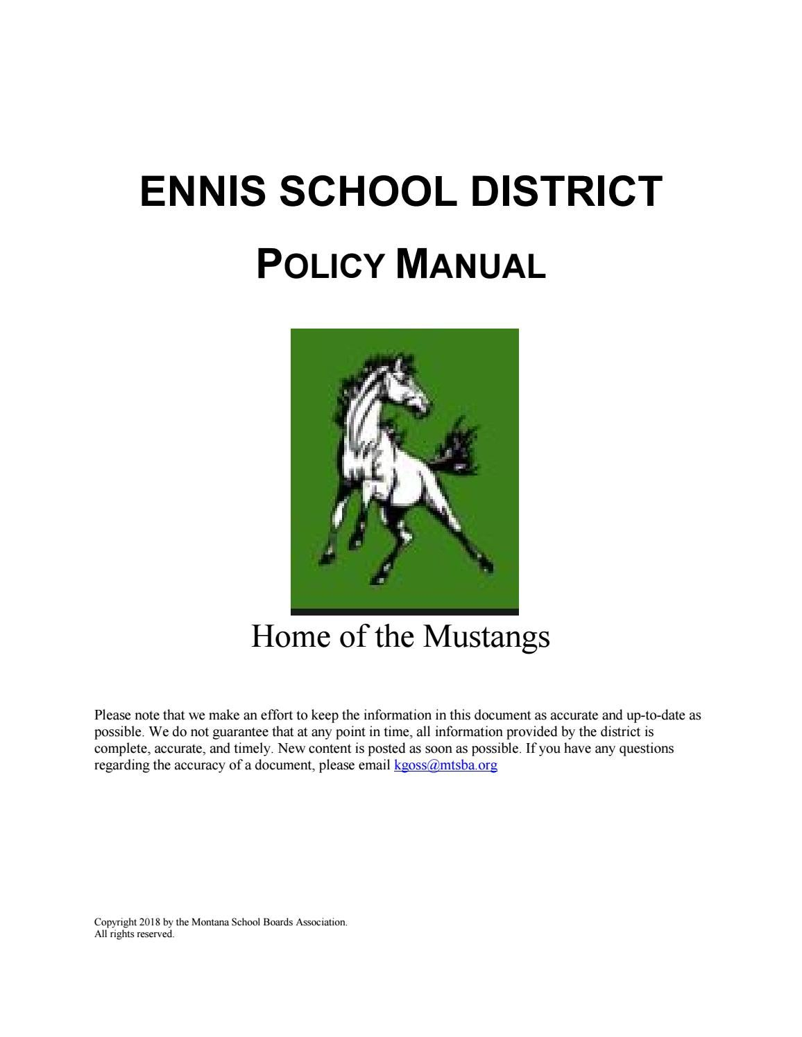 Ennis School District Policy Manual by Montana School Boards