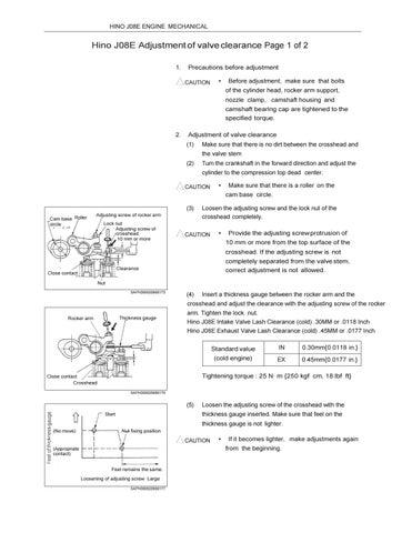 Hino J08E Engine Valve Adjustment Procedure, Valve Lash Clearance