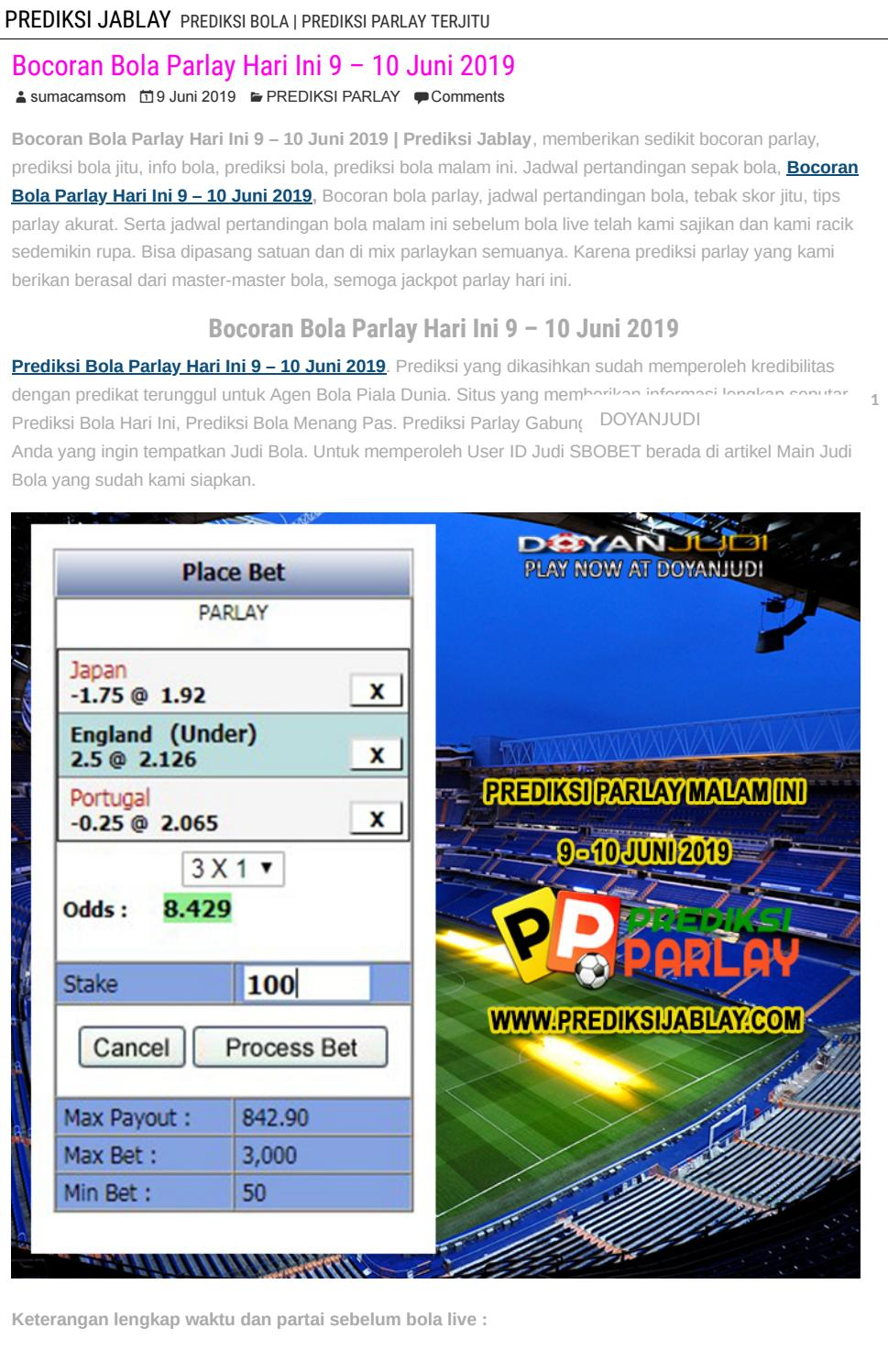 Bocoran Bola Parlay Hari Ini 9 10 Juni 2019 Prediksi Jablay By Prediksi Jablay Issuu