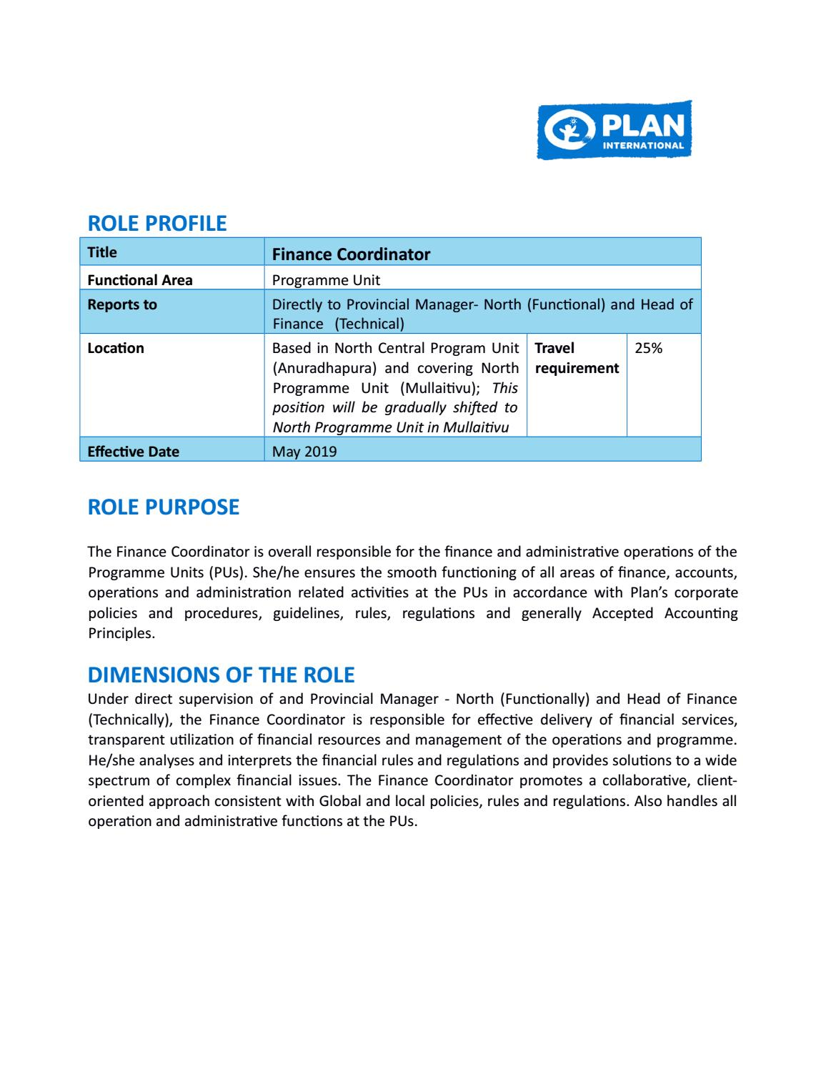Formato PDF North -Central Finance Coordinator By Plan