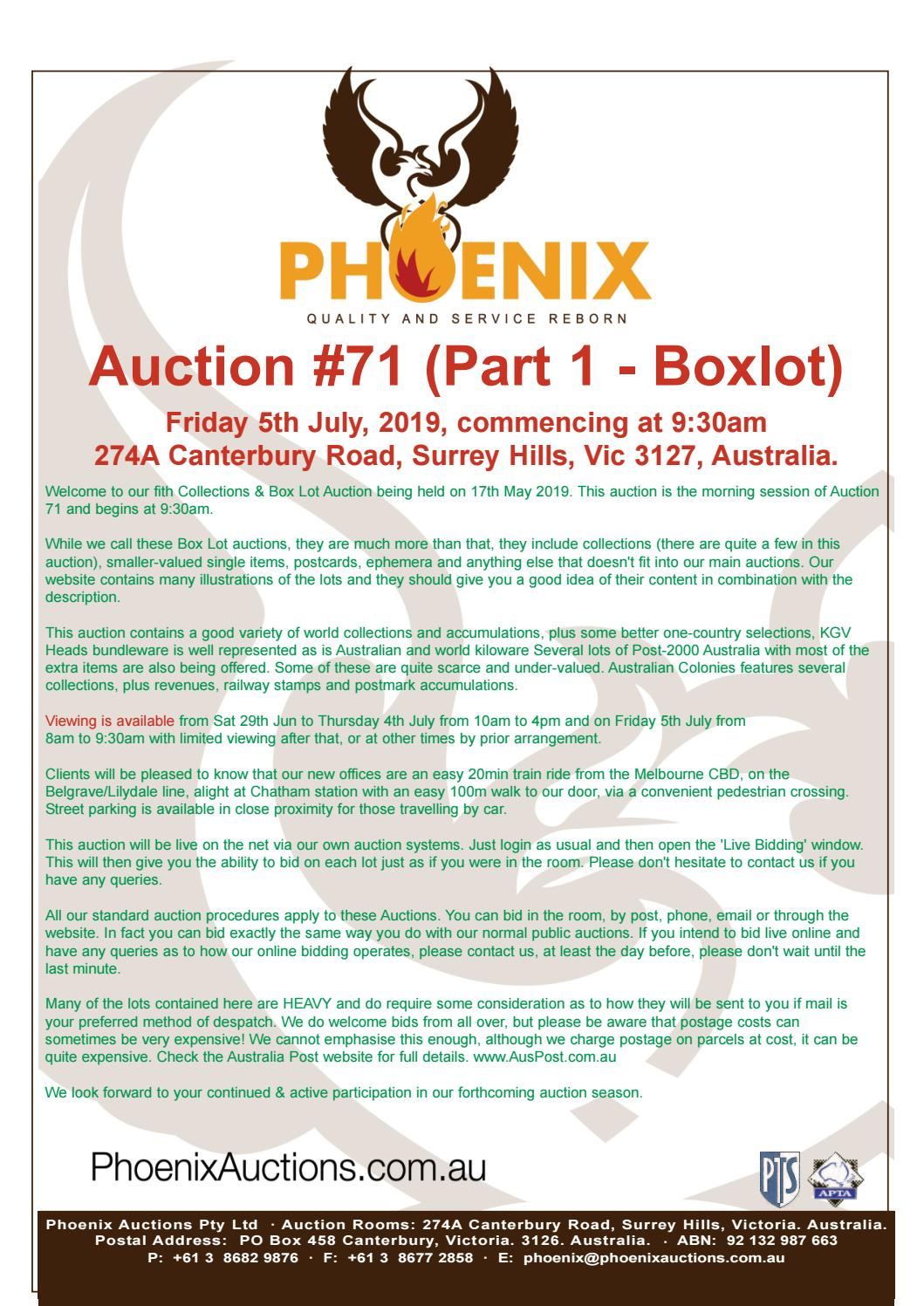 Phoenix Auctions #71 (Part 1 Boxlot) by Phoenix Auctions Pty