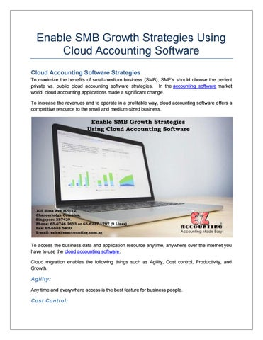 Enable SMB Growth Strategies Using Cloud Accounting Software