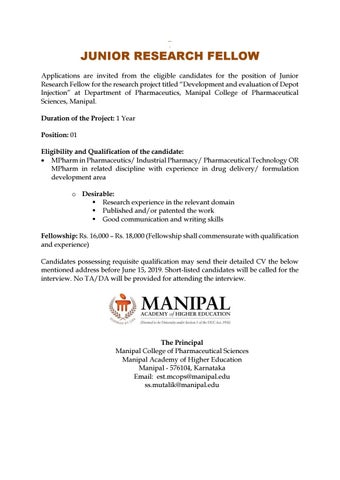 Pharma Jobs @ Manipal College of Pharmaceutical Sciences