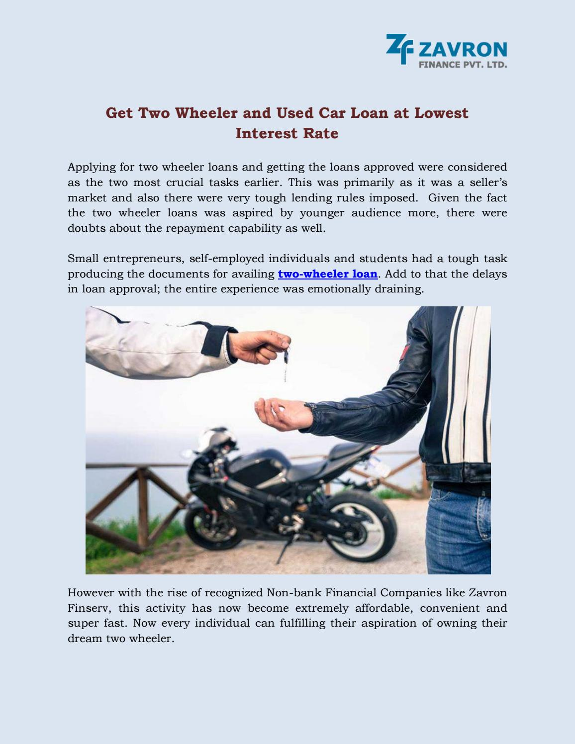 Used Car Loan >> Get Two Wheeler And Used Car Loan At Lowest Interest Rate By