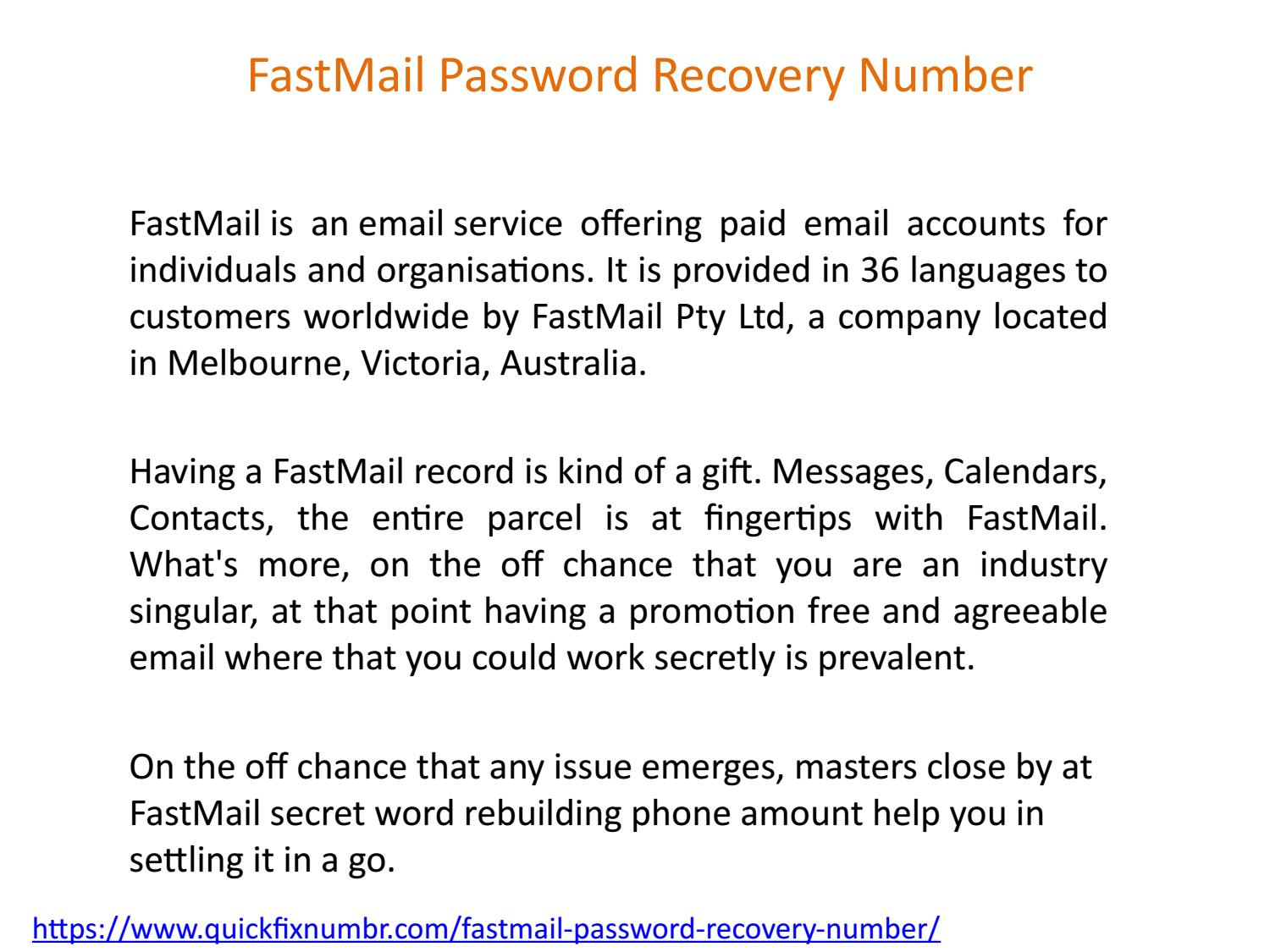 FastMail Password Recovery Number by pandianalex - issuu