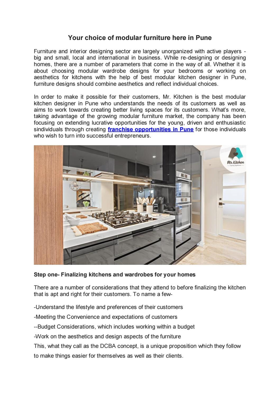 Furniture Franchise Opportunities In Pune By Mr Kitchen Issuu