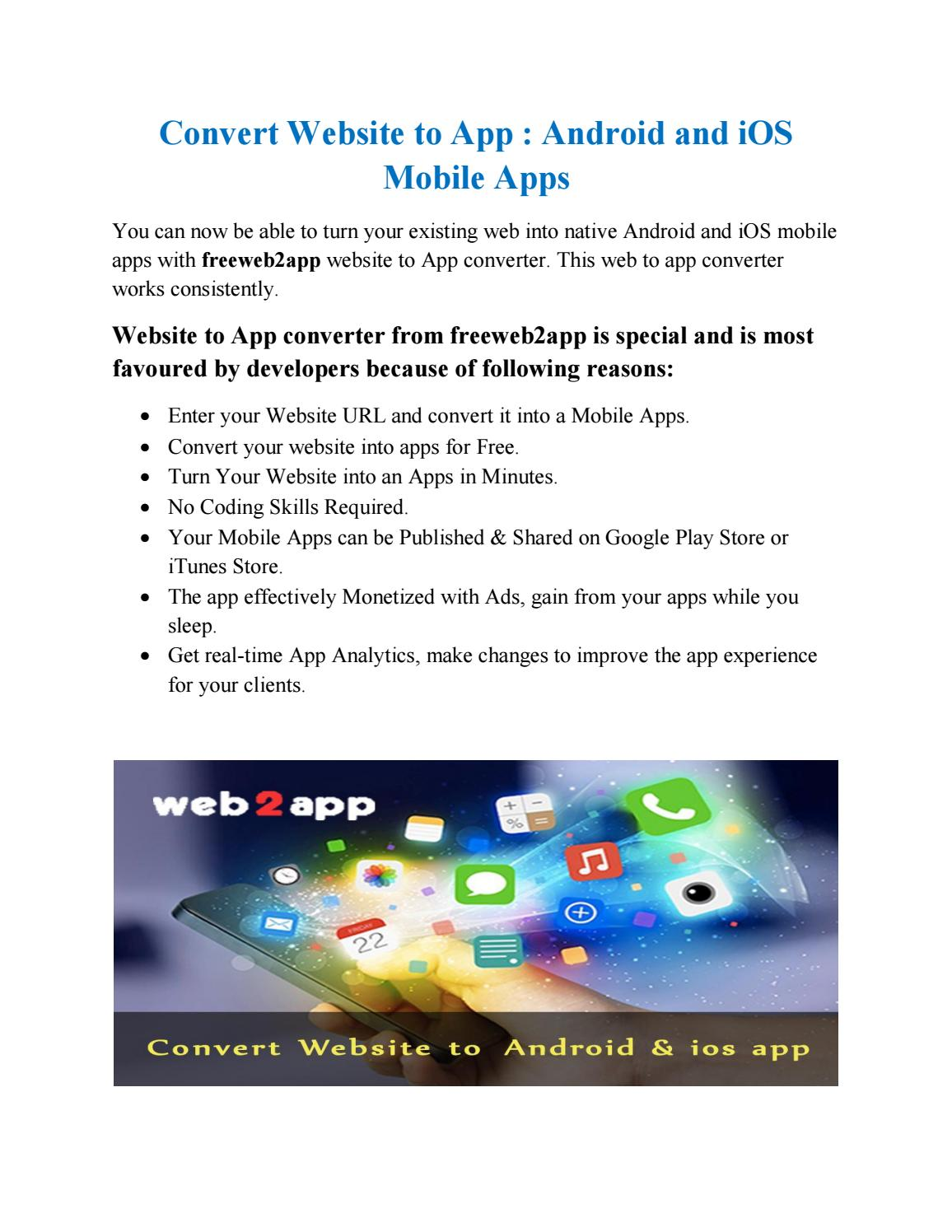 Convert Website To Android And Ios Mobile S By Web2