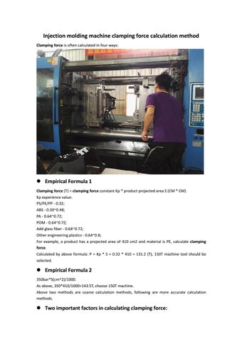 Injection molding machine clamping force calculation method