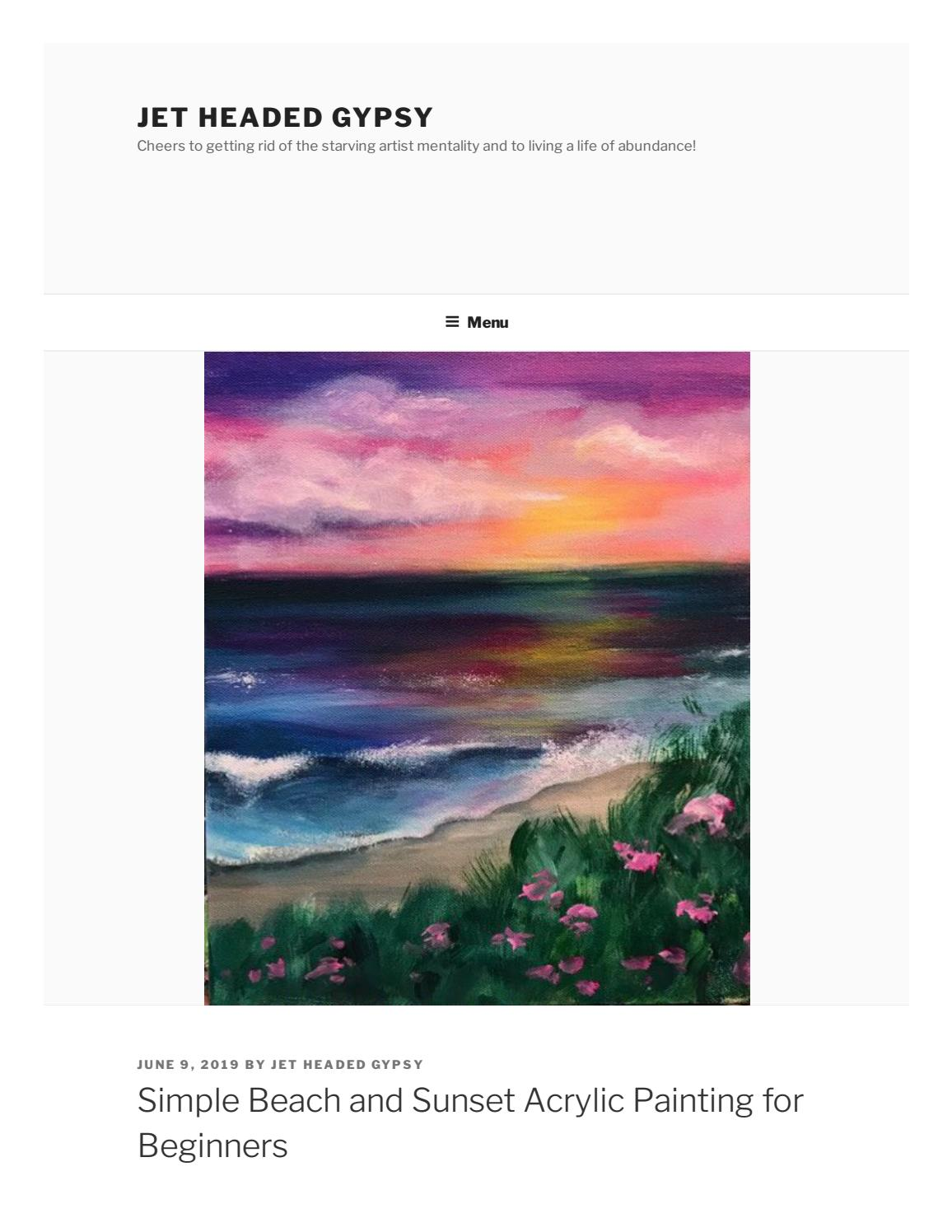 Simple Beach And Sunset Acrylic Painting For Beginners By Jet Headed Gypsy Issuu