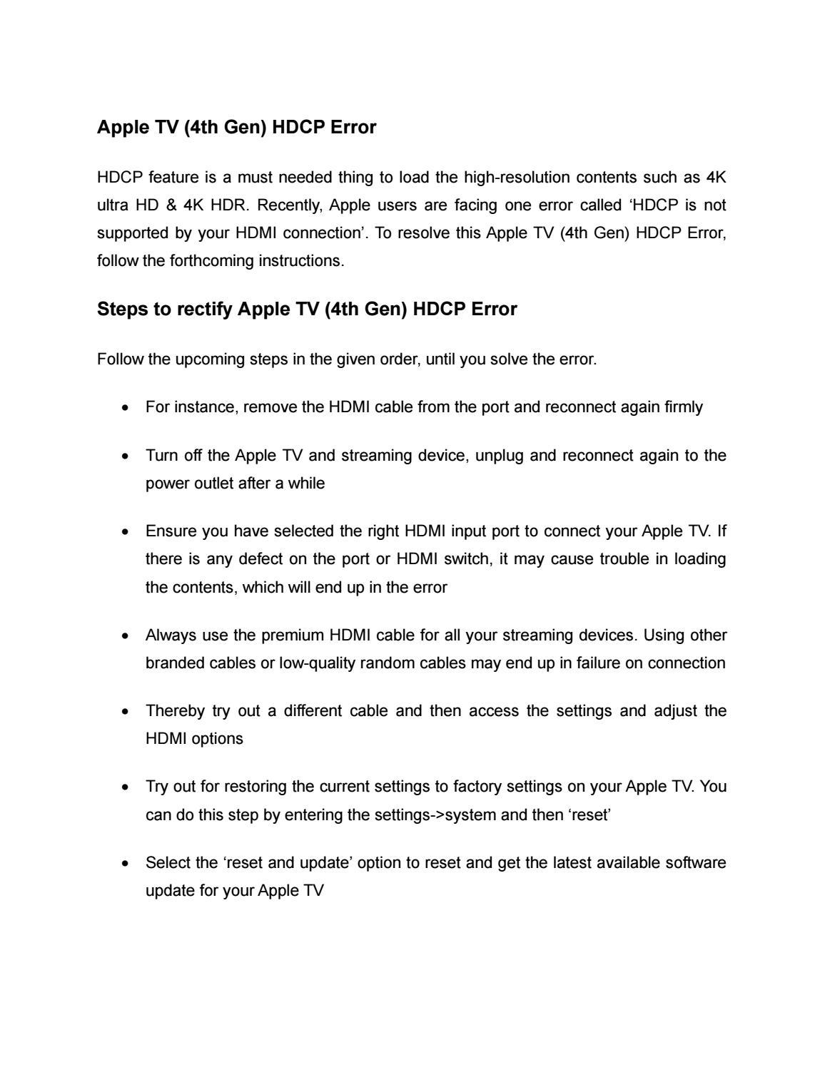 Apple TV (4th Gen) HDCP Error by georgethepeter@rokuhdcp - issuu