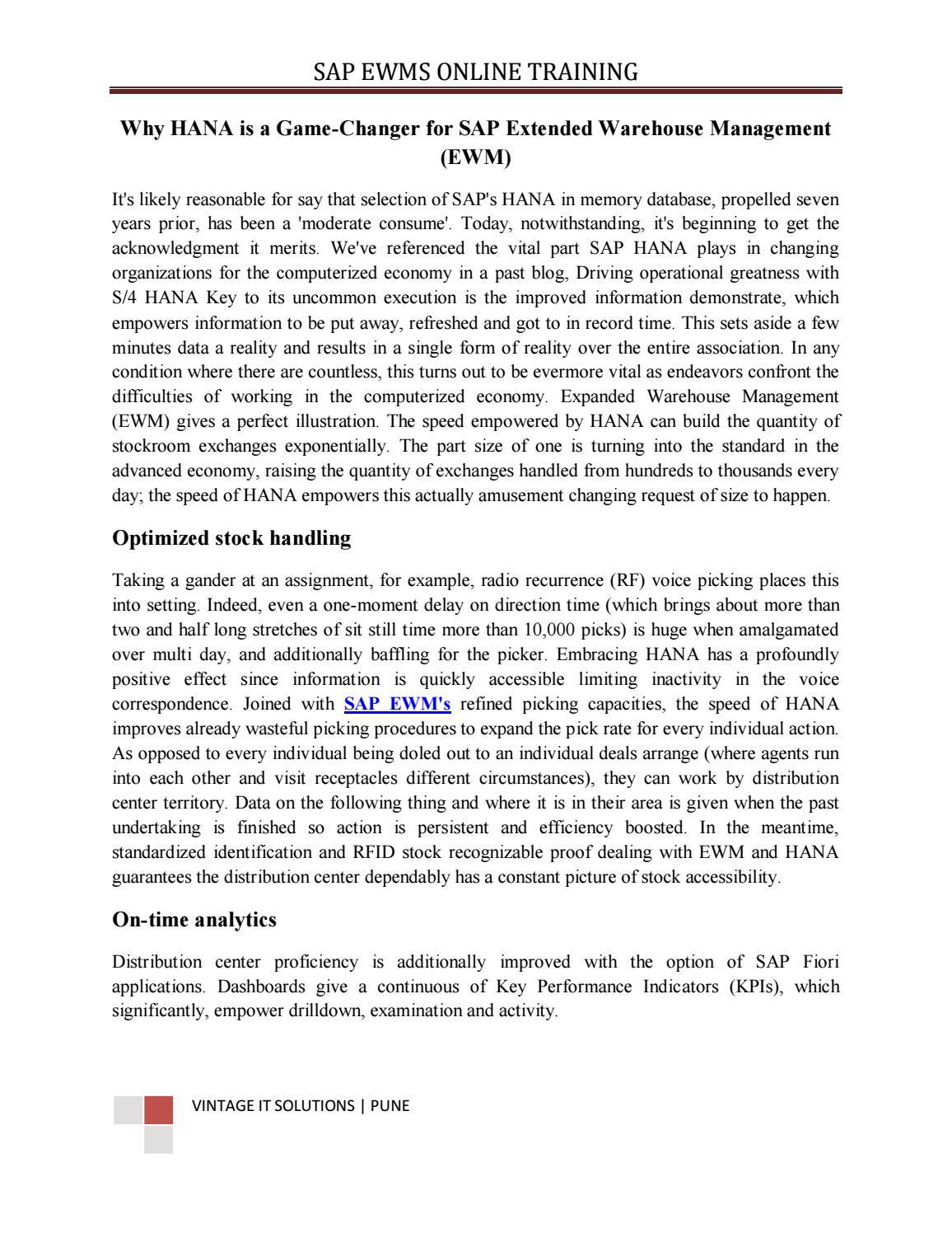 SAP EWMS Online Training Study Material   PDF  SAPVITS by