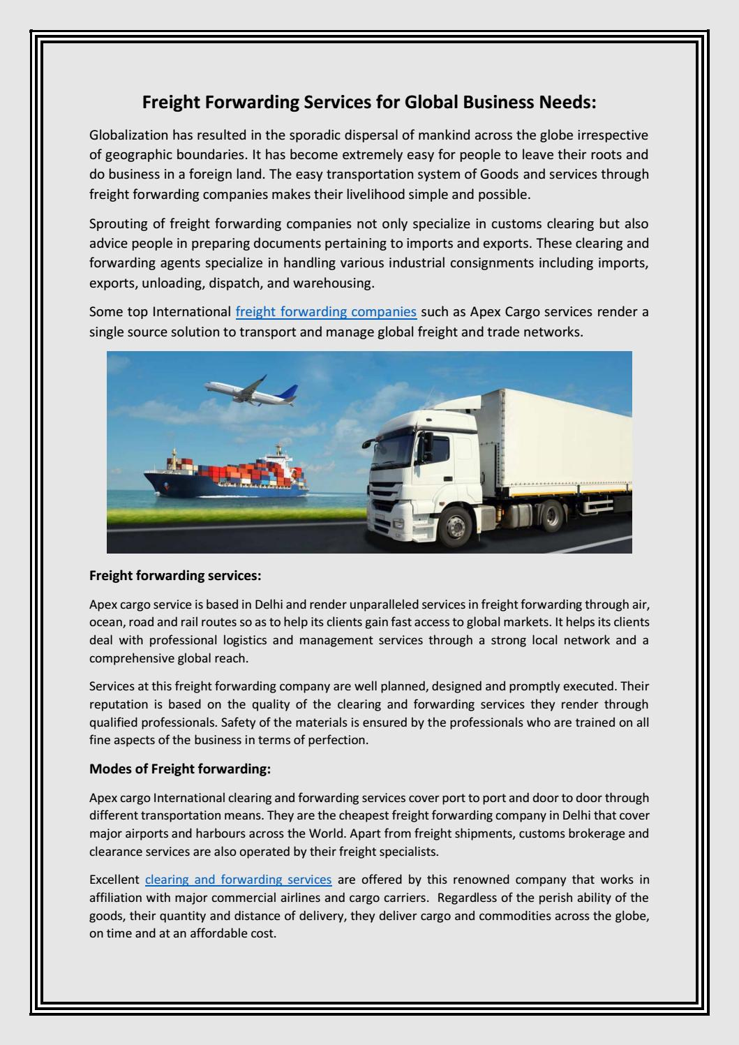 Freight Forwarding Services for Global Business Needs: by