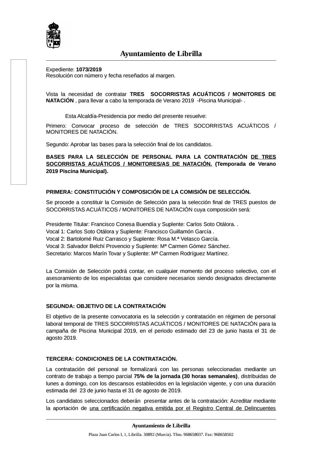 f3d36b5583ca Bases de Selección para la Contratación 3 Socorristas/Monitores Piscina  Municipal 2019 by Ayuntamiento de Librilla - issuu
