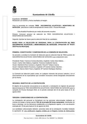 fd312955f44a Bases de Selección para la Contratación 3 Socorristas/Monitores Piscina  Municipal 2019