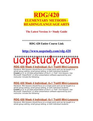 RDG 420 Week 4 Individual 6+1 Trait® Mini-Lessons (1