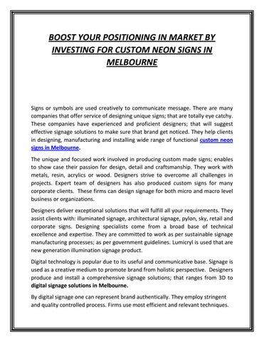 Market By Investing For Custom Neon
