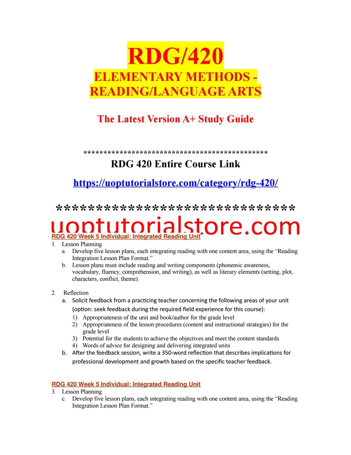 RDG 420 Week 5 Individual Integrated Reading Unit (2
