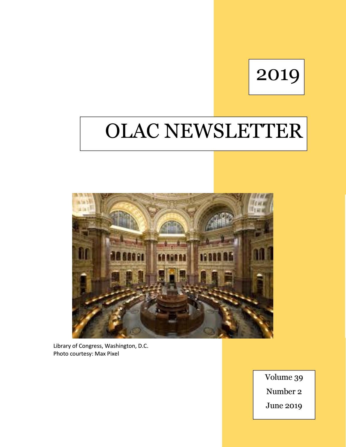 OLAC Newsletter Vol  39 No  2, June 2019 by OLAC Newsletter