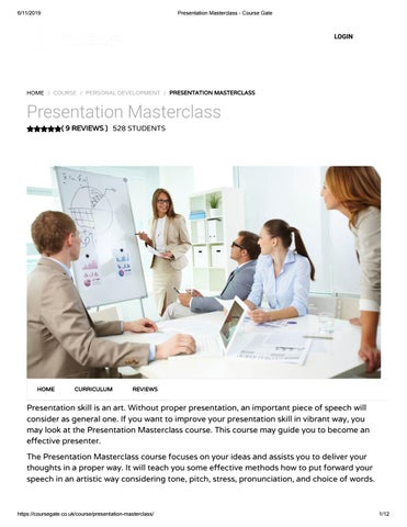 Presentation masterclass - Course Gate by Course Gate - issuu