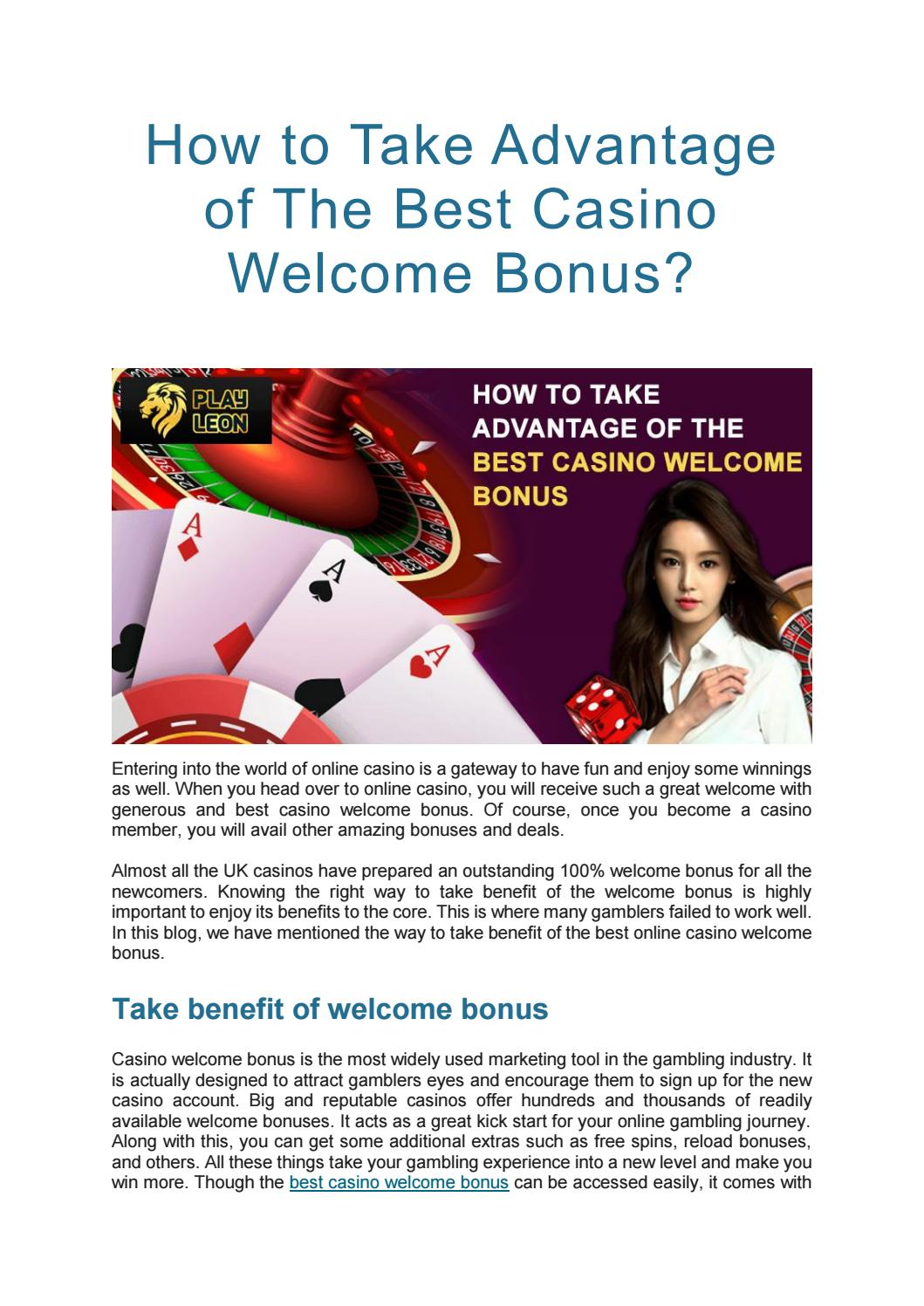 How To Take Advantage Of The Best Casino Welcome Bonus By