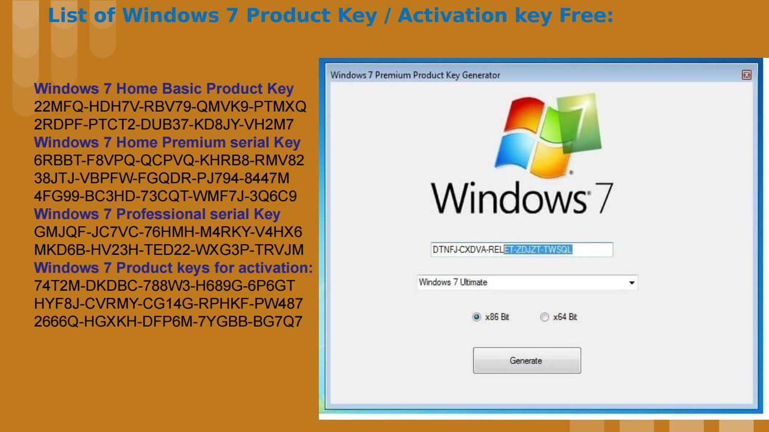 windows 7 product key free list
