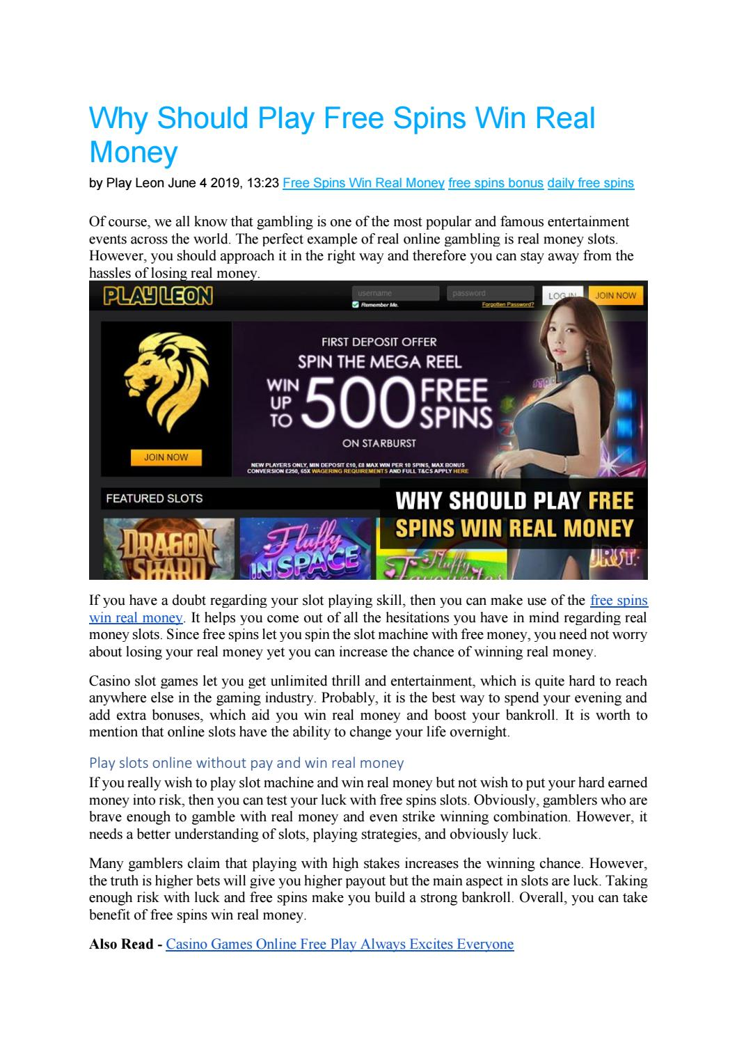 Why Should Play Free Spins Win Real Money By Playleon Issuu